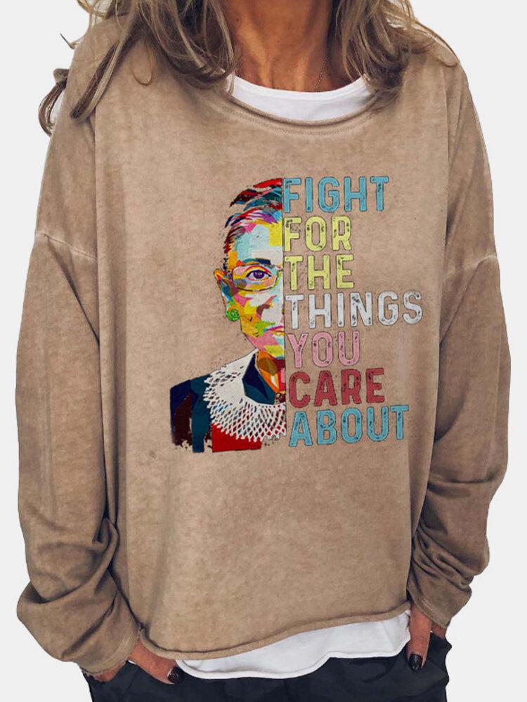 Figure Pattern Letter Print Patchwork Casual Sweatshirt For Women