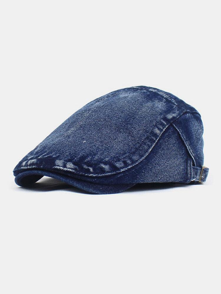 Men Made-old Denim Solid Retro Casual Sunshade Forward Hat Beret Hat Flat Hat