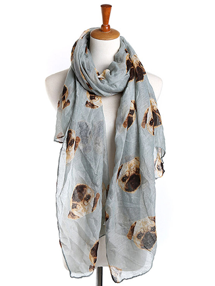 190cm Women Ladies Voile Pug Print Pattern Long Scarf Warm Wrap Shawl
