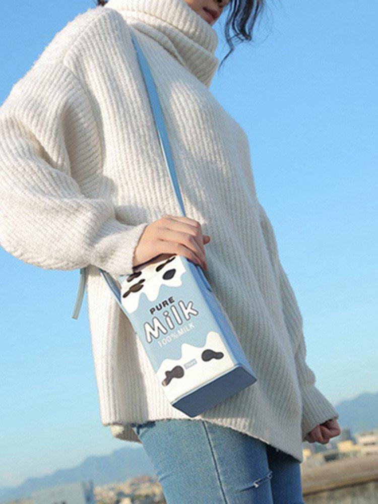 Women 6.5 Inch Phone Cute Milk Box Casual Crossbody Bag