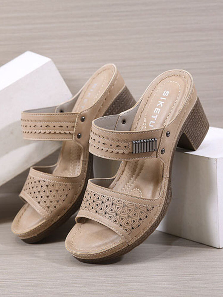 Casual Metal Decoration Stripe Chunky Heels Slippers For Women