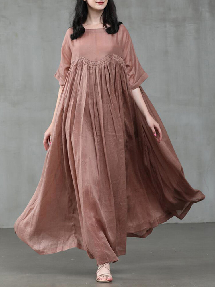 Women Solid Color Patchwork Half Sleeves Casual Maxi Dress