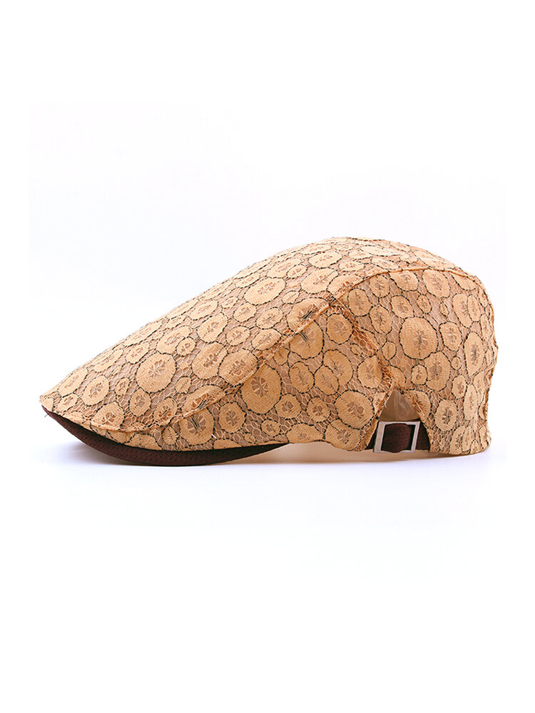 Womens Sunshade Cap Vogue Embroidered Cotton Beret Cap Breathable Adjustable Outdoor Sun Hat