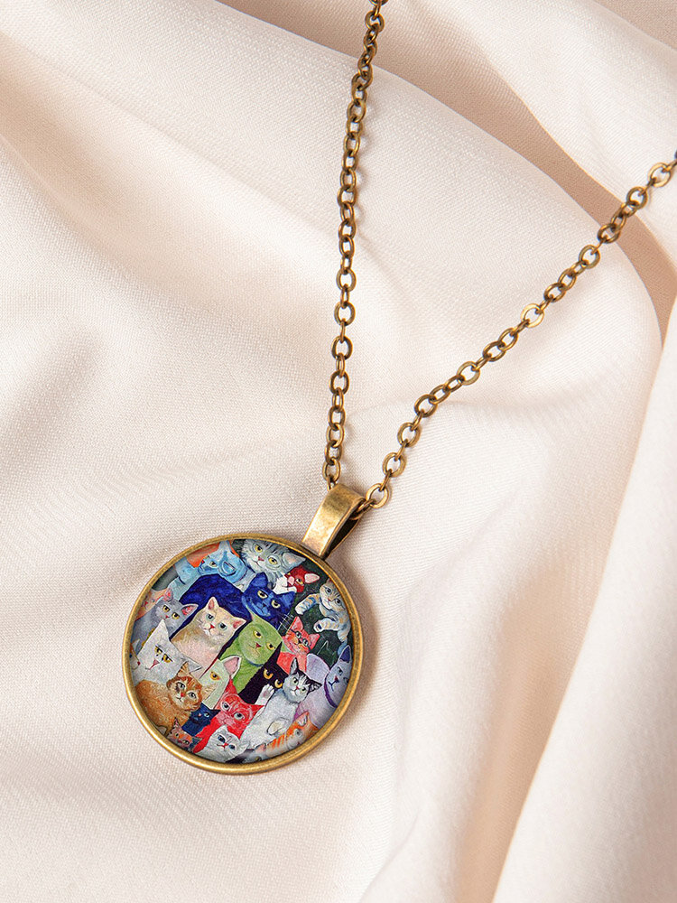 Metal Round Glass Beckoning Cat Print Women Pendant Necklace Jewelry Gift
