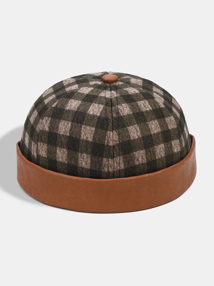 Collrown Men & Women Plaid Pattern Patchwork Casual Brimless Beanie Skull Hat Landlord Hat