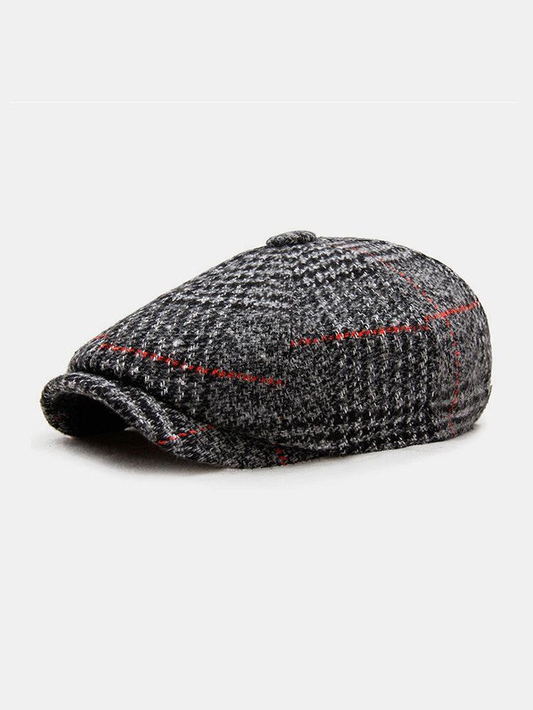 Men British Style Retro Painter Lattice Pattern Fashion Casual Keep Warm Forward Hat Beret Hat Octagonal Cap