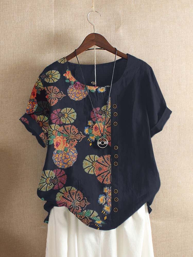 Floral Printed Patchwork O-neck Button T-shirt