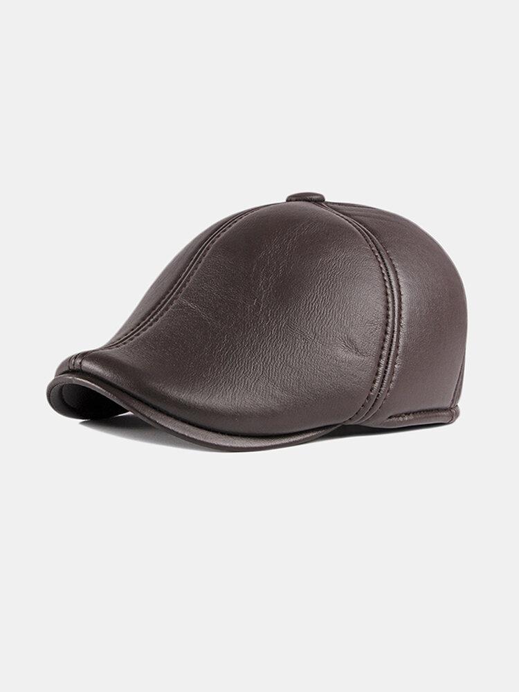 Unisex Ear Protection Warm Forward Cap British Vintage Leather Beret Caps