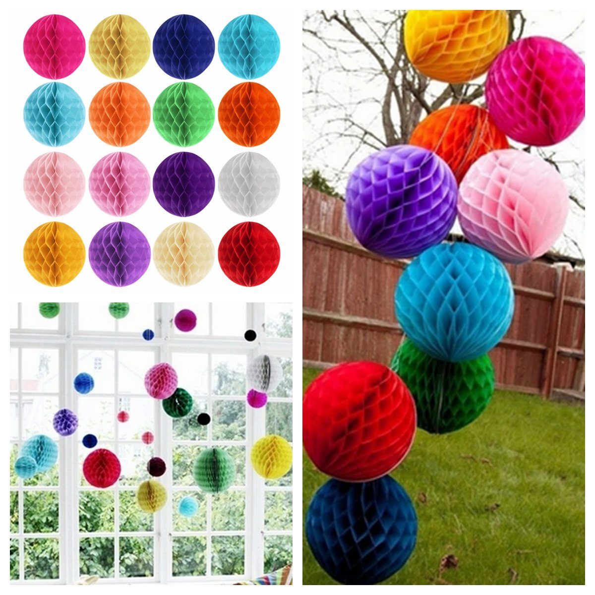 6'' Tissue Paper Pom Poms Honeycomb Ball Lantern Wedding Party Home Table Decor