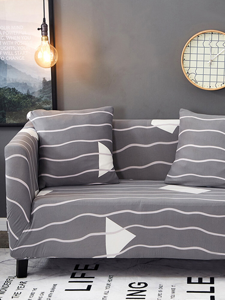 Elastic Anti-Slip Double-Seat Sofa Cover With 2 Pillow Case Gray Sofa Protect Cover Home Decor