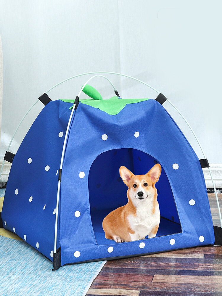 Pet Tent Cat And Dog Toy House Collapsible Cat Litter Cat Dog Strawberry Tent