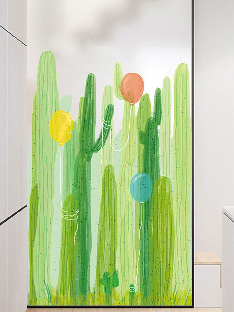 Miico 2PCS Cactus And Balloon Painting Sticker Glass Door Stickers Wall Stickers Home Decor Sticker