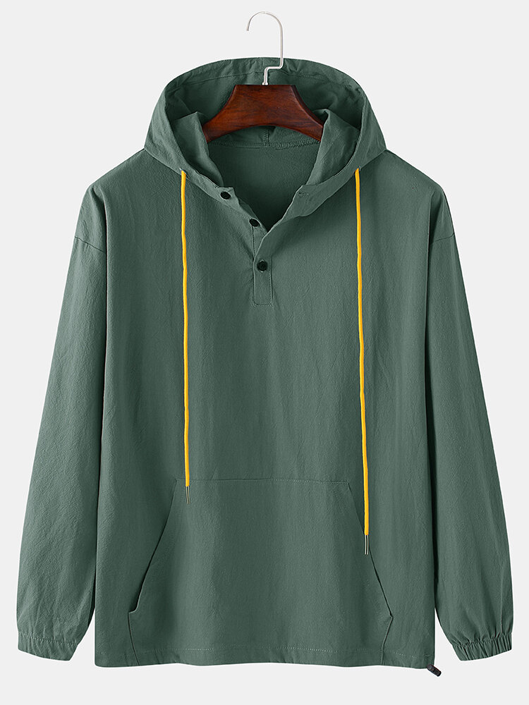 Mens Cotton Solid Color Loose Button Drawstring Hoodie With Pouch Pocket