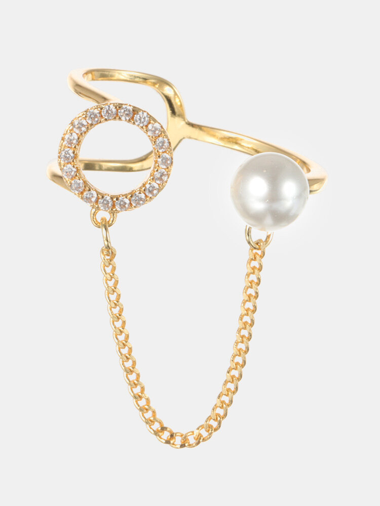 Fashion Open End Ring 18K Gold Plated Zirconia Ring Round Pearl Ring for Women
