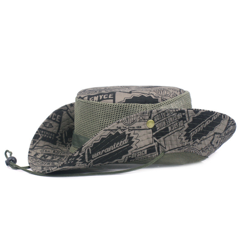 Men Summer Camouflage Mesh Bucket Hat With String Outdoor Sunshade Fisherman Cap Sun Hats
