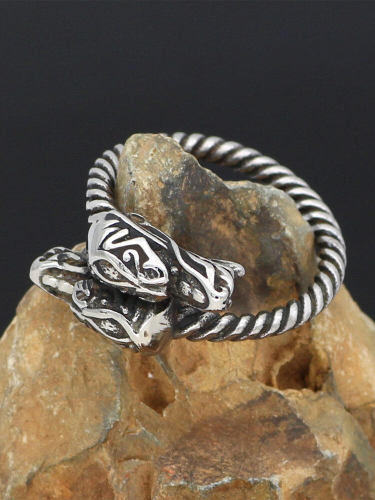 Vintage Trendy Poisonous Dragon Shape Titanium Steel Rings