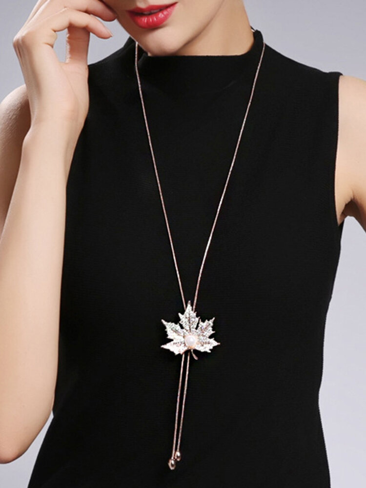 Fashion Pendant Long Necklace Maple Leaf Chain Charm Necklace Sweater Jewelry for Women