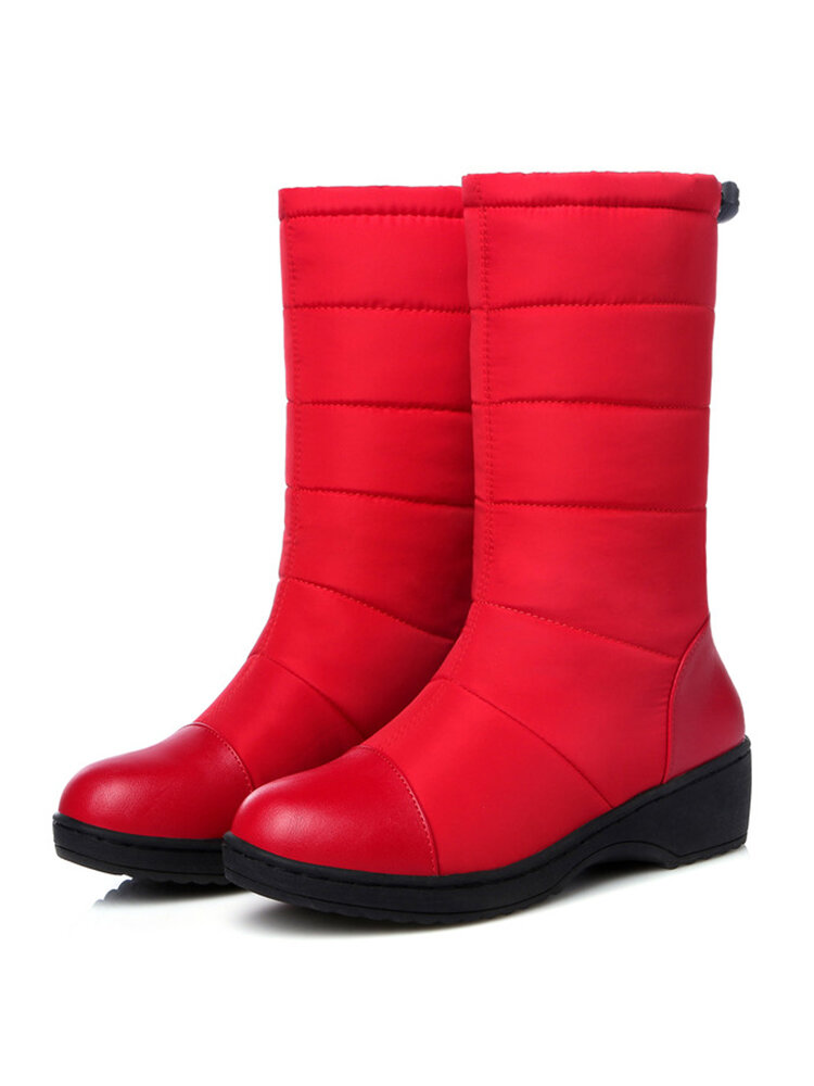 Women Casual Solid Color Waterproof Warm Waterproof Fabric Stitching Mid-Calf Snow Boots