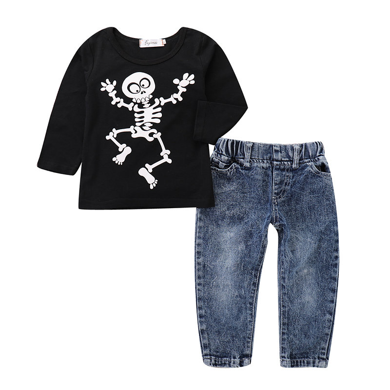 Boys Casual Clothes Set Printed T-Shirt + Long Jeans For 1Y-7Y