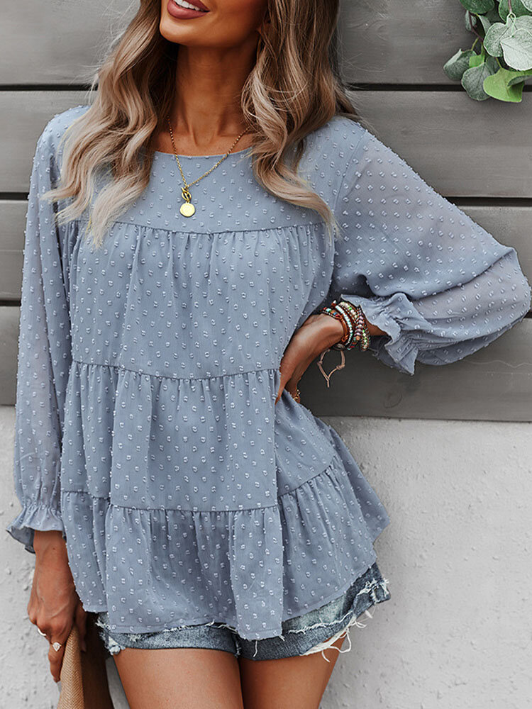 Solid Long Sleeve O-neck Loose Blouse for Women