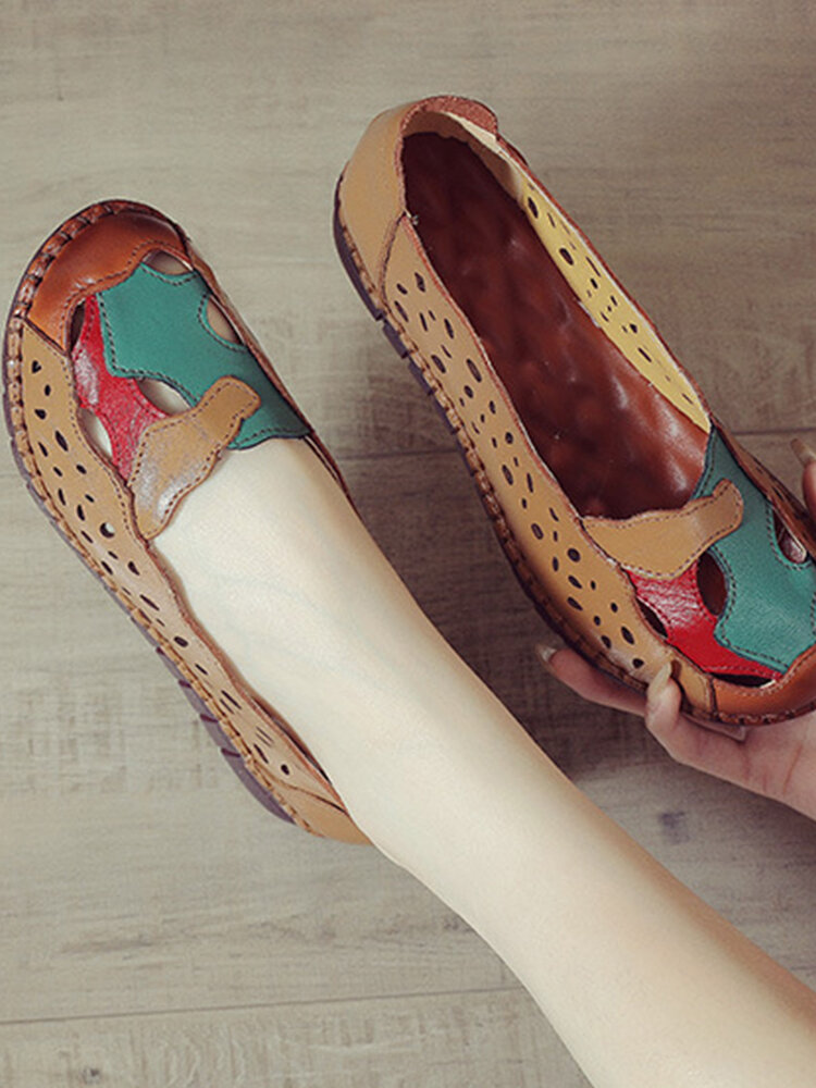 Women Ethnic Soft Leather Hollow Color Splicing Flats