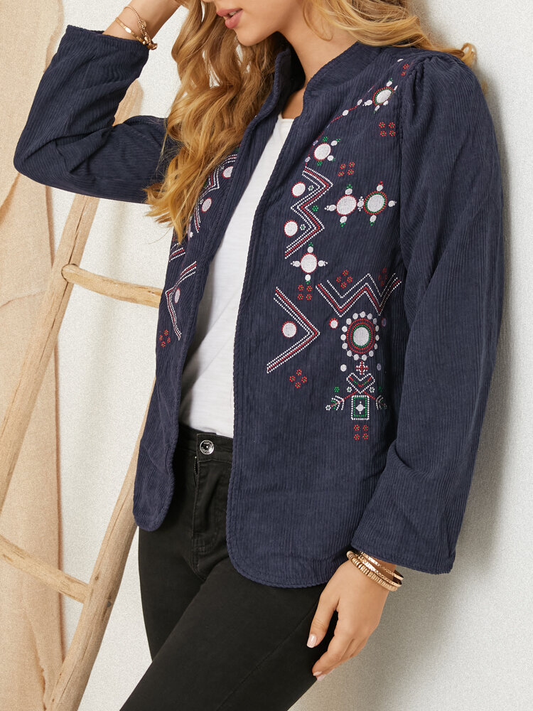 Corduroy Embroidered Stand Collar Long Sleeve Vintage Jackets