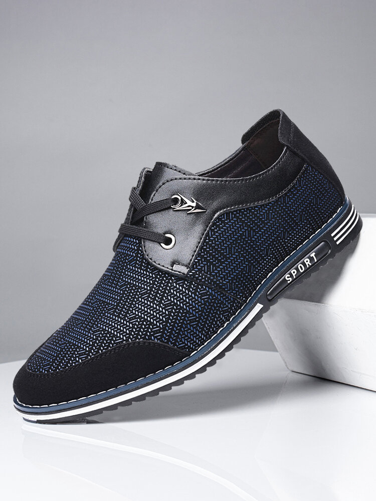 Men Special Suede Splicing Lace Up Soft Business Casual Shoes