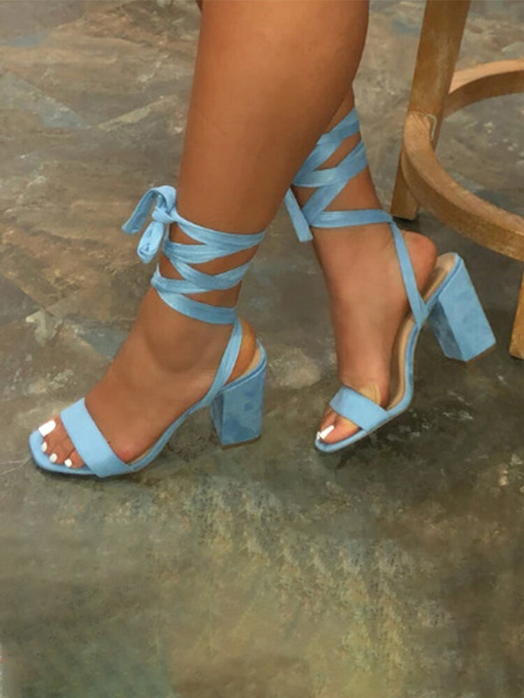 Women Fashion Solid Color Lace Up Chunky Heels Sandals