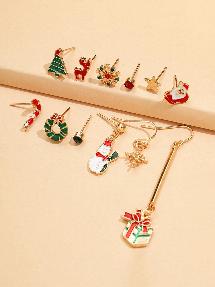 12 Pcs Christmas Earrings Set Christmas Tree Snowflake Santa Claus Elk Earrings Gift