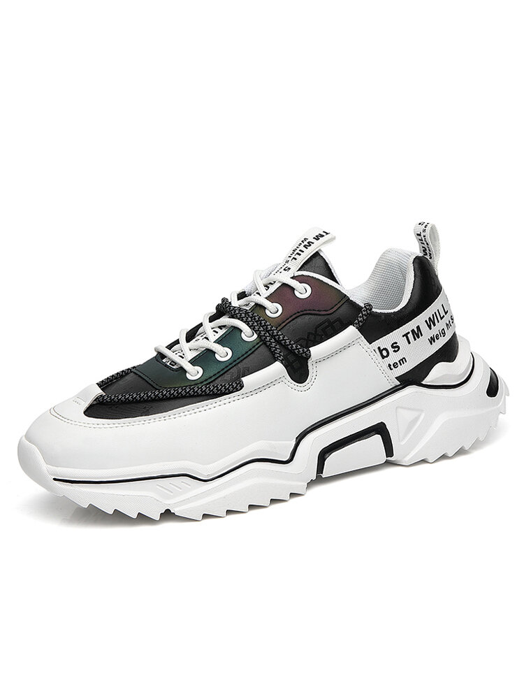 Men Comfortable Trendy Reflective Sport Casual Chunky Sneakers