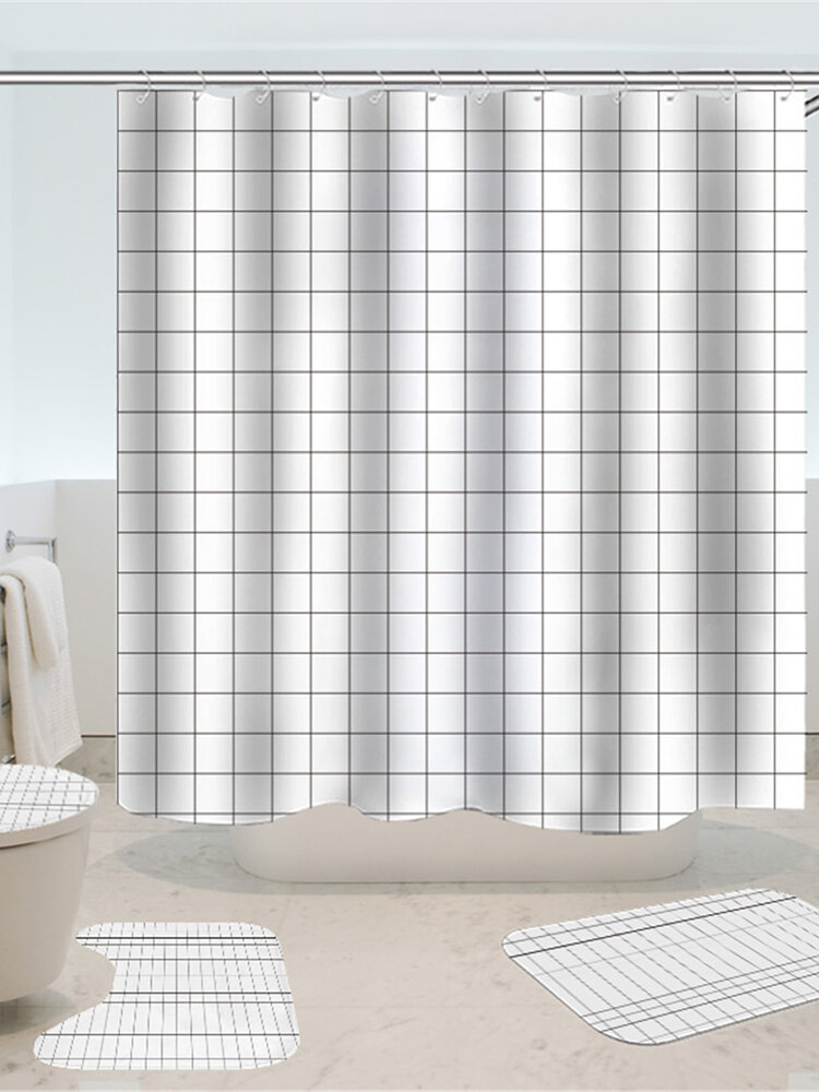 4Pcs/Set Waterproof Egyptian Shower Curtain+Non-Slip Toilet Cover Door Bath Mat