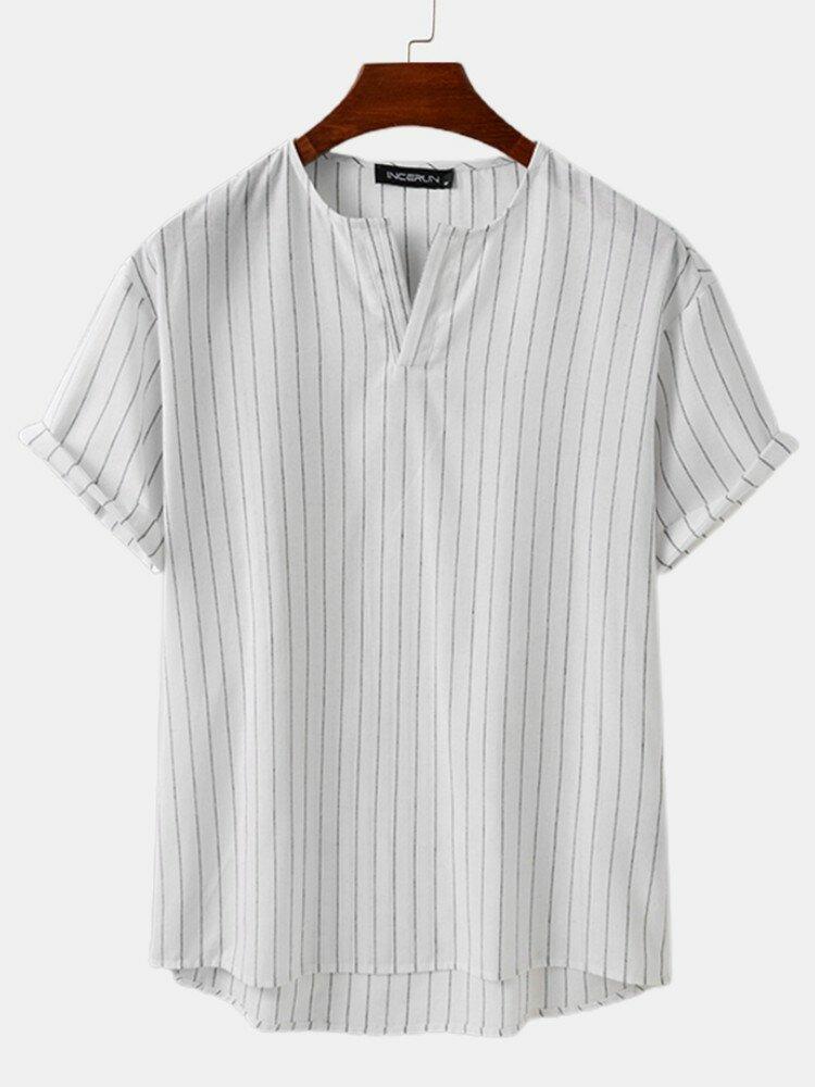 Plus Size Mens Striped V-Neck Short Sleeve Fashion T-Shirt