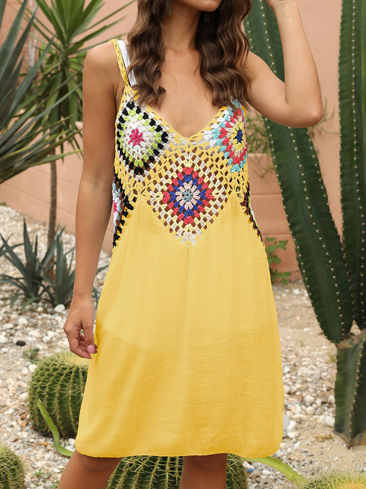 Embroidery Crochet Hollow Out Backless Plus Size Beaches Holiday Dress