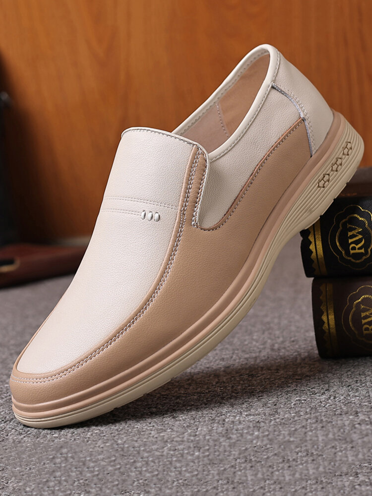 Men Breathable Cow Leather Splicing Slip On Business Casual Shoes