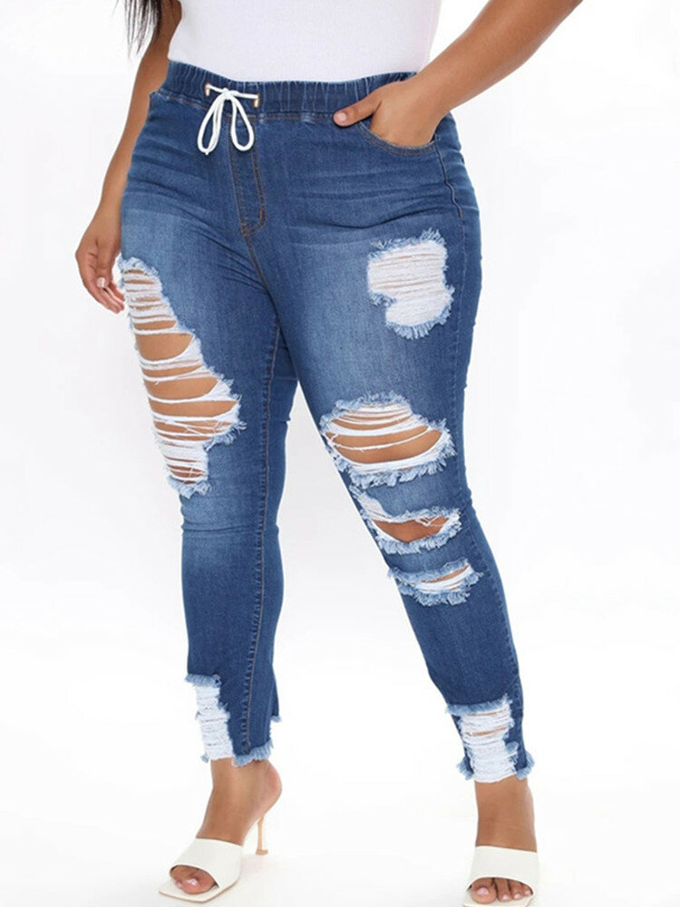 Fashion Elastci Waist Ripped Plus Size Denim Pants with Pocket