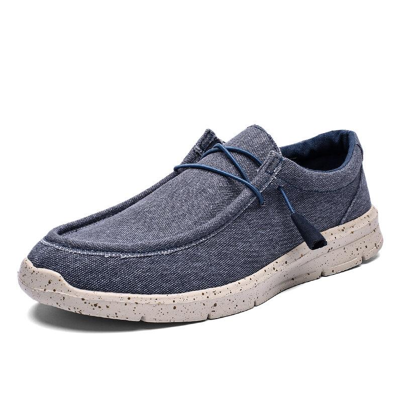 Men Pure Color Canvas Breathable Non Slip Elastic Lace Casual Shoes