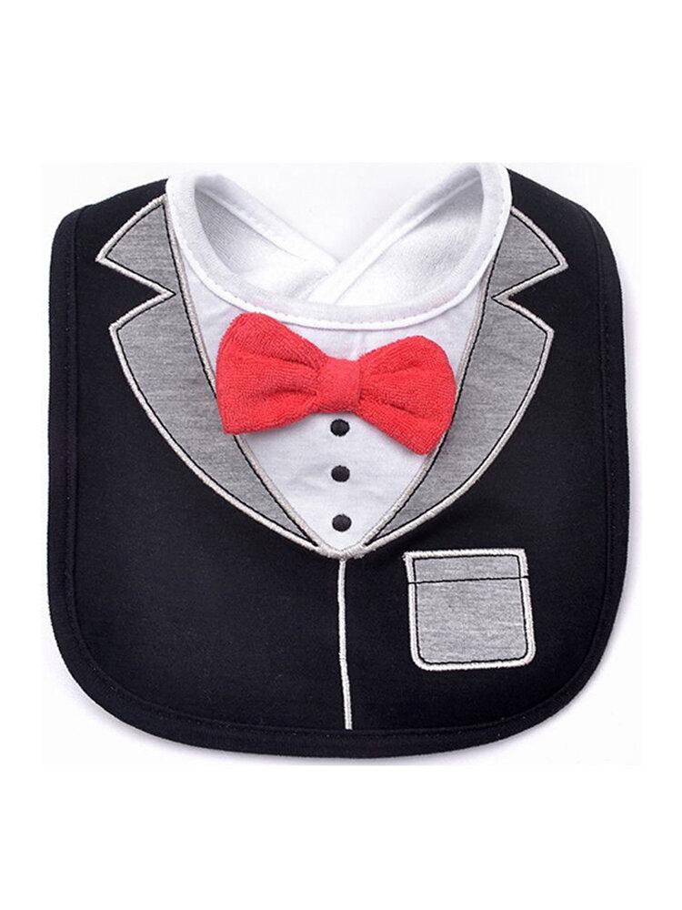 Модные джентльменские детские нагрудники Три красных галстука-бабочки Джентльмен Платье Форма слюны Полотенце Водонепроницаемы