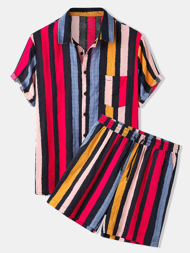 Mens Multi-Color Striped Print Casual Loose Drawstring Waist Loungewear