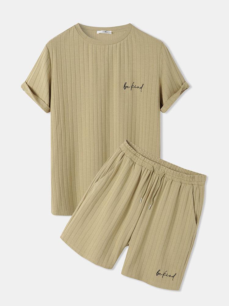 メンズリブキャラクター刺繡テクスチャ半袖ツーピース衣装
