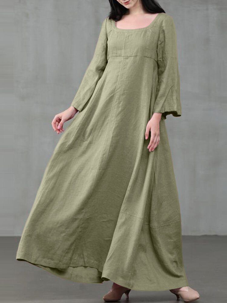 Solid Color A-Line Long Sleeve Maxi Cotton Loose Dress