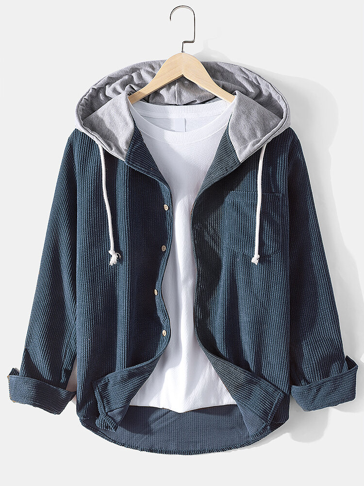 Mens Corduroy Designer Solid Color Daily Button Up Drawstring Hooded Shirt