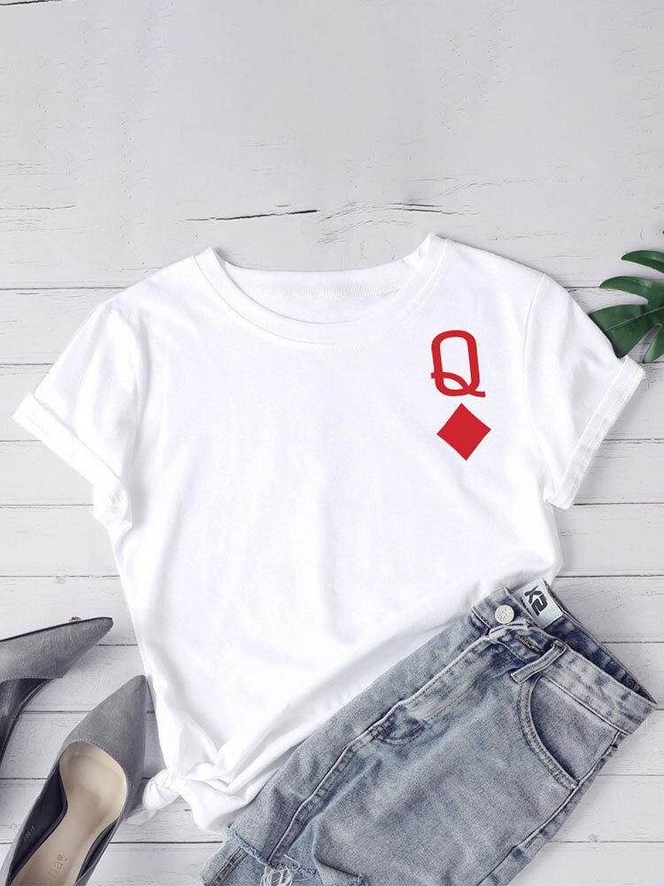 Poker Element Print O-neck Plus Size Casual T-shirt