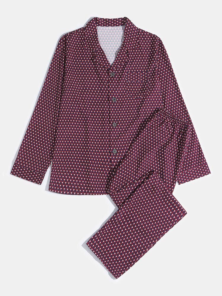 Conjunto de pijama a cuadros con botones de color rojo vino Soft para hombre con bolsillo