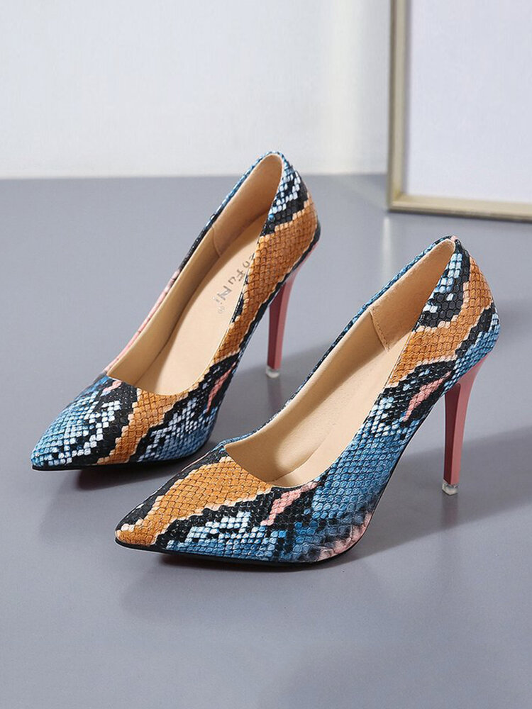 Women Party Sexy Snake Pattern Pointed Toe Stiletto High Heel Evening Shoes