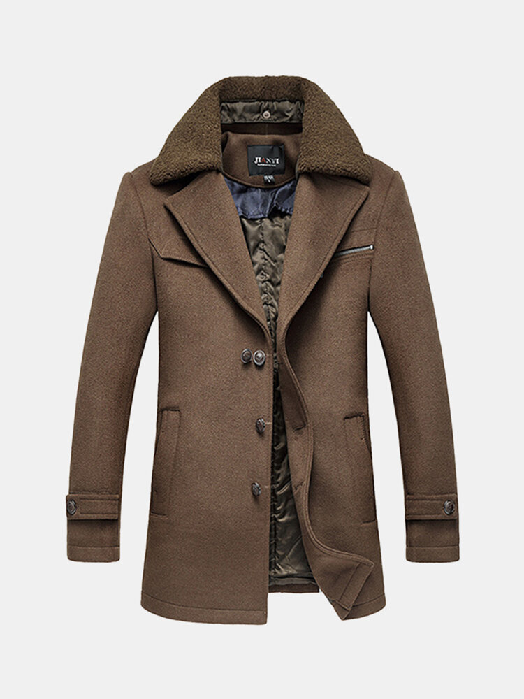 new product ec211 e17ed Trench invernale in lana Trench in lana casual Giacca monopetto slim fit  per uomo