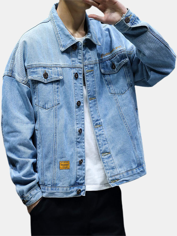 Mens Multi-Pocket Button Up Cotton Stylish Casual Denim Jacket