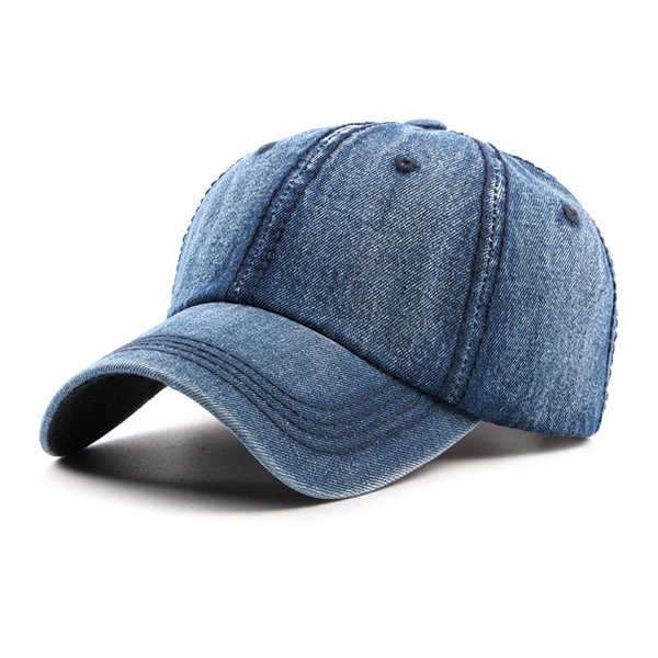Mens Womens Retro Washed Cotton Denim Baseball Cap Travel Casual Sunshade Snapback Hat