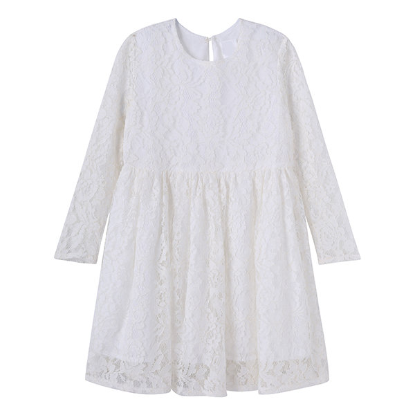 Baby Girls White Flower Lace Dresses Children's Party Clothing Solid Kids Dress for Girls