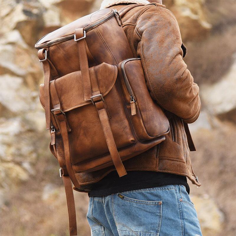 Men PU Leather Vintage Solid Multi-pocket Travel Bag Backpack