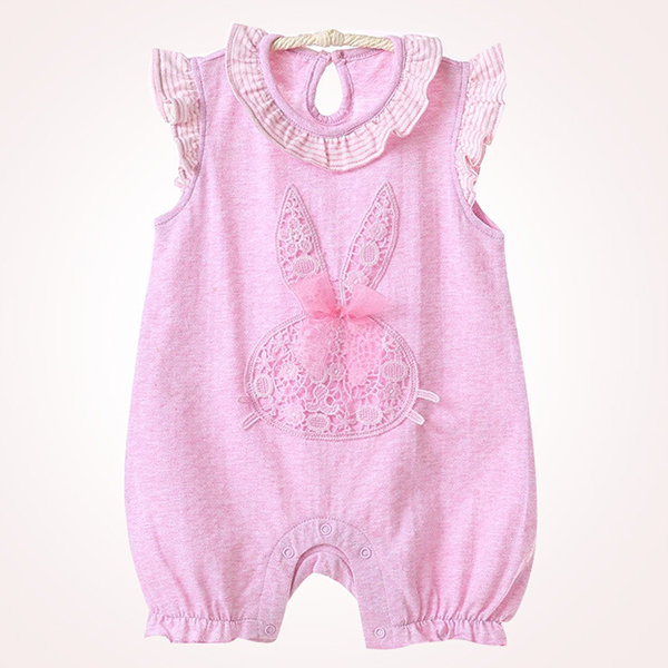 Cute Baby Solid Sleeveless O-Neck Crawling Rompers